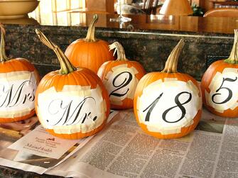 Personalized Pumpkins for Maine Barn Wedding