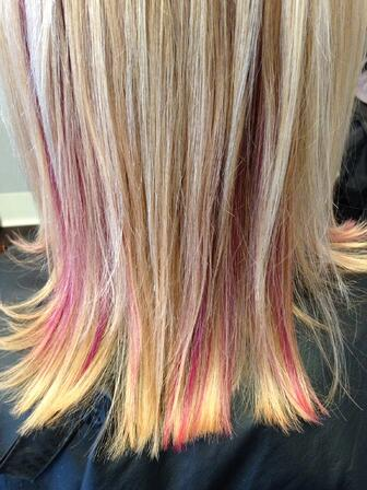 Wedding Hair Pink Highlight Examples