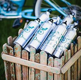 wedding favors, rustic wedding, barn, new england, maine, guests, gift bag, water bottle