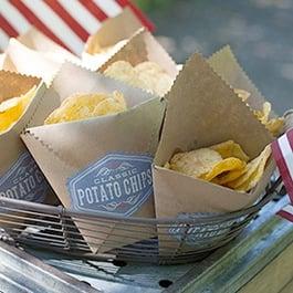 maine wedding, barn, new england, wedding favors, guest friendly, rustic wedding, DIY, chip bag, snack bag