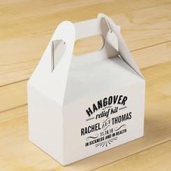 wedding favors, rustic wedding, barn, new england, maine, guests, gift bag, hangover