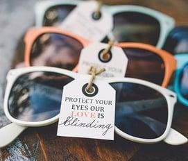 maine wedding, barn, new england, wedding favors, guest friendly, rustic wedding, sunglasses